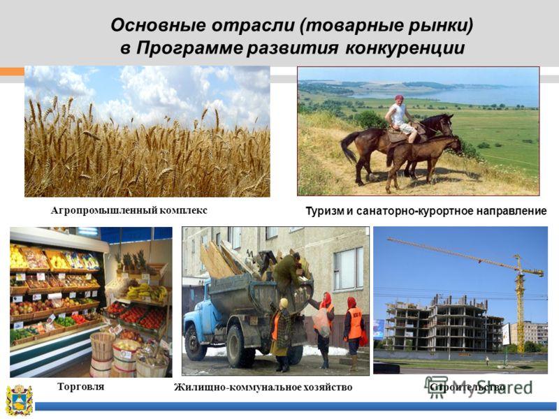 Основные отрасли (товарные рынки) в Программе развития конкуренции Агропромышленный комплекс Туризм и санаторно-курортное направление Торговля Жилищно-коммунальное хозяйствоСтроительство