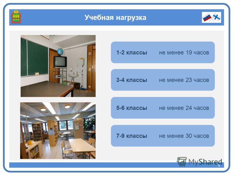 Учебная нагрузка 9 9 1-2 классы не менее 19 часов 3-4 классы не менее 23 часов 5-6 классы не менее 24 часов 7-9 классы не менее 30 часов