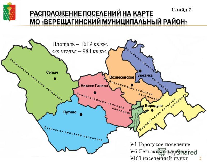 1 Городское поселение 6 Сельских поселений 161 населенный пункт Площадь – 1619 кв.км. с/х угодья – 984 кв.км. Слайд 2 2