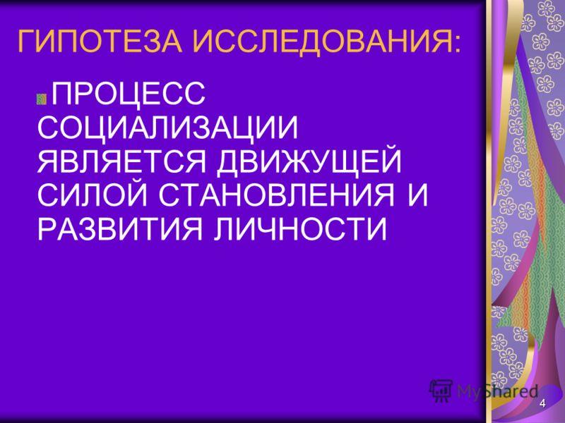 4 ПРОЦЕСС СОЦИАЛИЗАЦИИ ЯВЛЯЕТСЯ ДВИЖУЩЕЙ СИЛОЙ СТАНОВЛЕНИЯ И РАЗВИТИЯ ЛИЧНОСТИ ГИПОТЕЗА ИССЛЕДОВАНИЯ:
