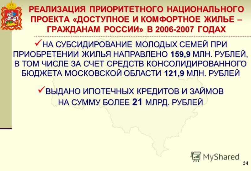 РЕАЛИЗАЦИЯ ПРИОРИТЕТНОГО НАЦИОНАЛЬНОГО ПРОЕКТА «ДОСТУПНОЕ И КОМФОРТНОЕ ЖИЛЬЕ – ГРАЖДАНАМ РОССИИ» В 2006-2007 ГОДАХ НА СУБСИДИРОВАНИЕ МОЛОДЫХ СЕМЕЙ ПРИ ПРИОБРЕТЕНИИ ЖИЛЬЯ НАПРАВЛЕНО 159,9 МЛН. РУБЛЕЙ, В ТОМ ЧИСЛЕ ЗА СЧЕТ СРЕДСТВ КОНСОЛИДИРОВАННОГО БЮД