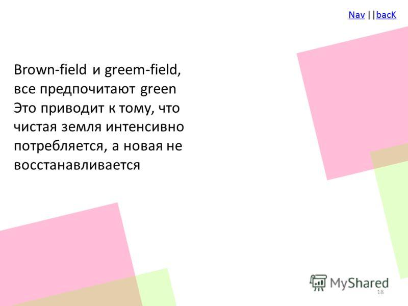NavNav ||bacKbacKNavNav ||bacKbacK Brown-field и greem-field, все предпочитают green Это приводит к тому, что чистая земля интенсивно потребляется, а новая не восстанавливается 18