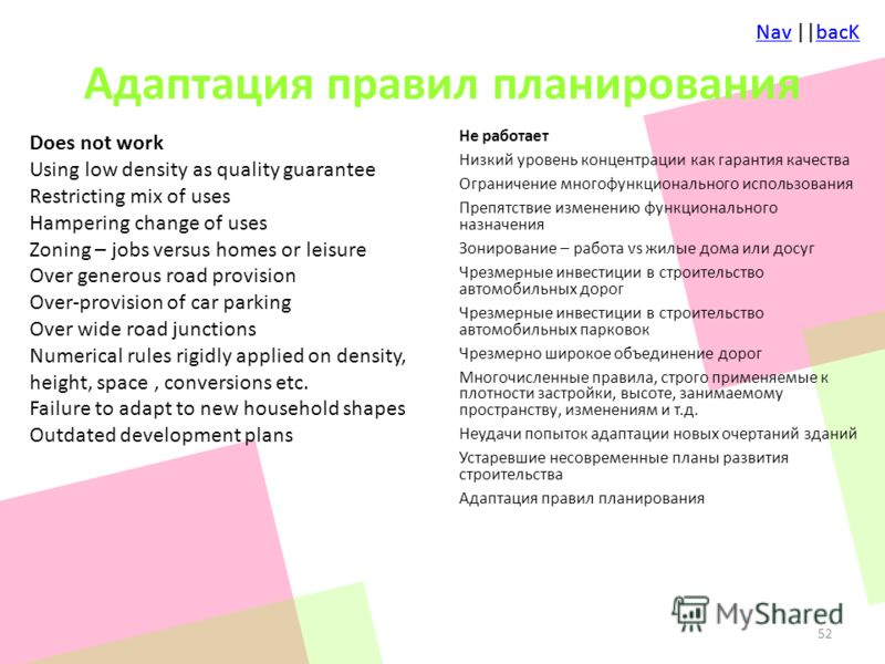 NavNav ||bacKbacKNavNav ||bacKbacK Адаптация правил планирования Does not work Using low density as quality guarantee Restricting mix of uses Hampering change of uses Zoning – jobs versus homes or leisure Over generous road provision Over-provision o