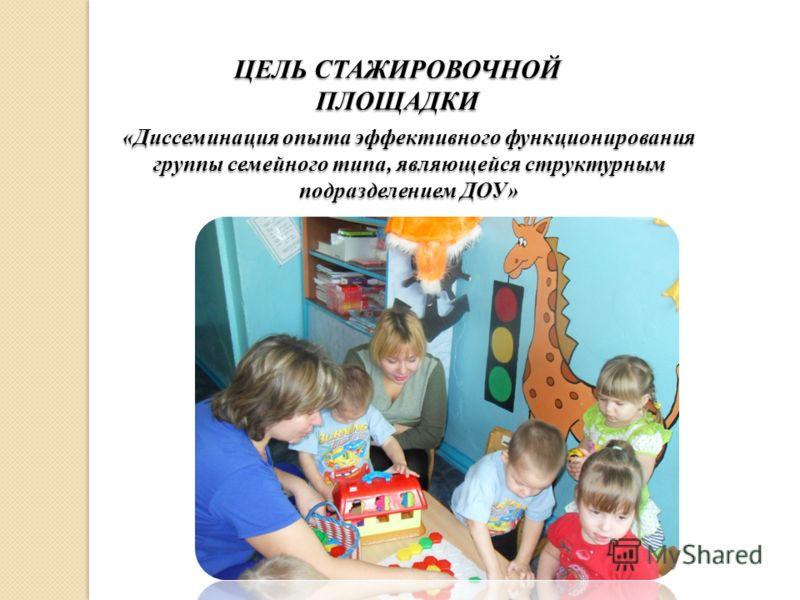 ЦЕЛЬ СТАЖИРОВОЧНОЙ ПЛОЩАДКИ «Диссеминация опыта эффективного функционирования группы семейного типа, являющейся структурным подразделением ДОУ»