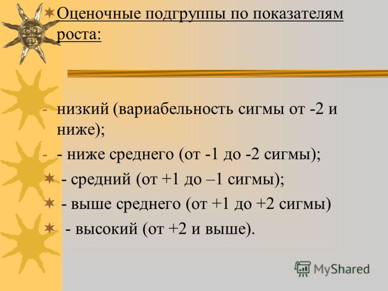 Оценочные подгруппы по показателям роста: - низкий (вариабельность сигмы от -2 и ниже); - - ниже среднего (от -1 до -2 сигмы); - средний (от +1 до –1 сигмы); - выше среднего (от +1 до +2 сигмы) - высокий (от +2 и выше).