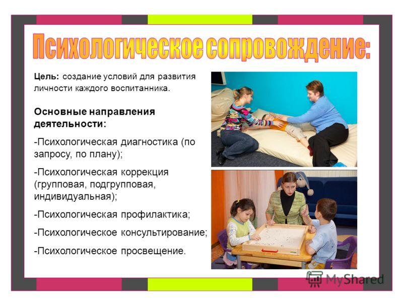Основные направления деятельности: -Психологическая диагностика (по запросу, по плану); -Психологическая коррекция (групповая, подгрупповая, индивидуальная); -Психологическая профилактика; -Психологическое консультирование; -Психологическое просвещен