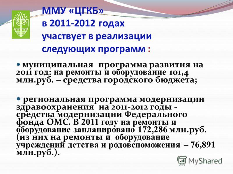 ММУ «ЦГКБ» в 2011-2012 годах участвует в реализации следующих программ : муниципальная программа развития на 2011 год: на ремонты и оборудование 101,4 млн.руб. – средства городского бюджета; региональная программа модернизации здравоохранения на 2011