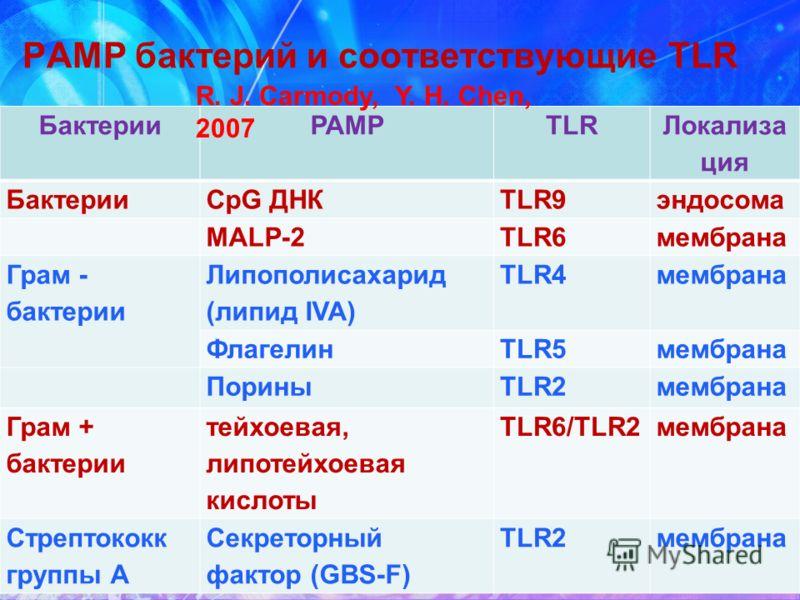 PAMP бактерий и соответствующие TLR БактерииPAMPTLR Локализа ция БактерииCpG ДНКTLR9эндосома MALP-2TLR6мембрана Грам - бактерии Липополисахарид (липид IVA) TLR4мембрана ФлагелинTLR5мембрана ПориныTLR2мембрана Грам + бактерии тейхоевая, липотейхоевая