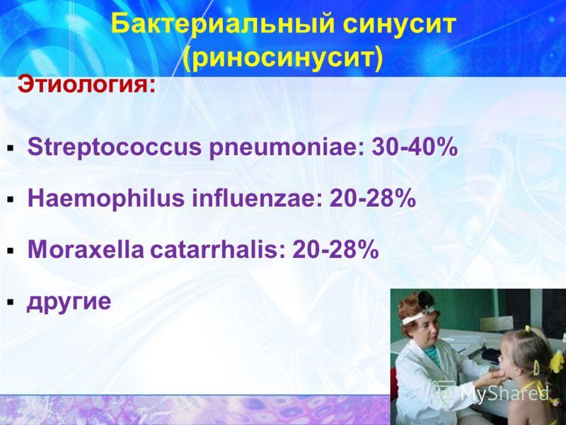Бактериальный синусит (риносинусит) Этиология: Streptococcus pneumoniae: 30-40% Streptococcus pneumoniae: 30-40% Haemophilus influenzae: 20-28% Haemophilus influenzae: 20-28% Moraxella catarrhalis: 20-28% Moraxella catarrhalis: 20-28% другие другие