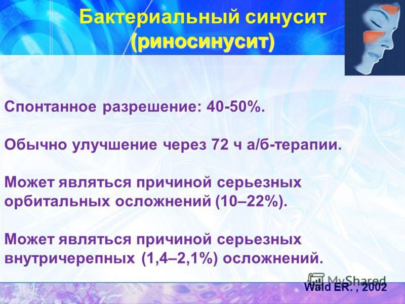 (риносинусит) Бактериальный синусит (риносинусит) Спонтанное разрешение: 40-50%. Обычно улучшение через 72 ч а/б-терапии. Спонтанное разрешение: 40-50%. Обычно улучшение через 72 ч а/б-терапии. Может являться причиной серьезных орбитальных осложнений