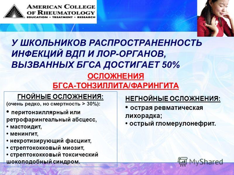 ОСЛОЖНЕНИЯ БГСА-ТОНЗИЛЛИТА/ФАРИНГИТА ГНОЙНЫЕ ОСЛОЖНЕНИЯ: (очень редко, но смертность > 30%): перитонзиллярный или ретрофарингеальный абсцесс, мастоидит, менингит, некротизирующий фасциит, стрептококковый миозит, стрептококковый токсический шокоподобн