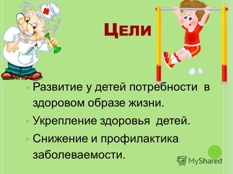 Развитие у детей потребности в здоровом образе жизни. Укрепление здоровья детей. Снижение и профилактика заболеваемости. Ц ЕЛИ