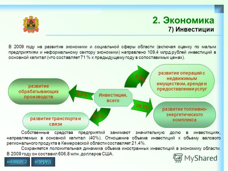 2. Экономика 7) Инвестиции В 2009 году на развитие экономики и социальной сферы области (включая оценку по малым предприятиям и неформальному сектору экономики) направлено 109,4 млрд.рублей инвестиций в основной капитал (что составляет 71 % к предыду