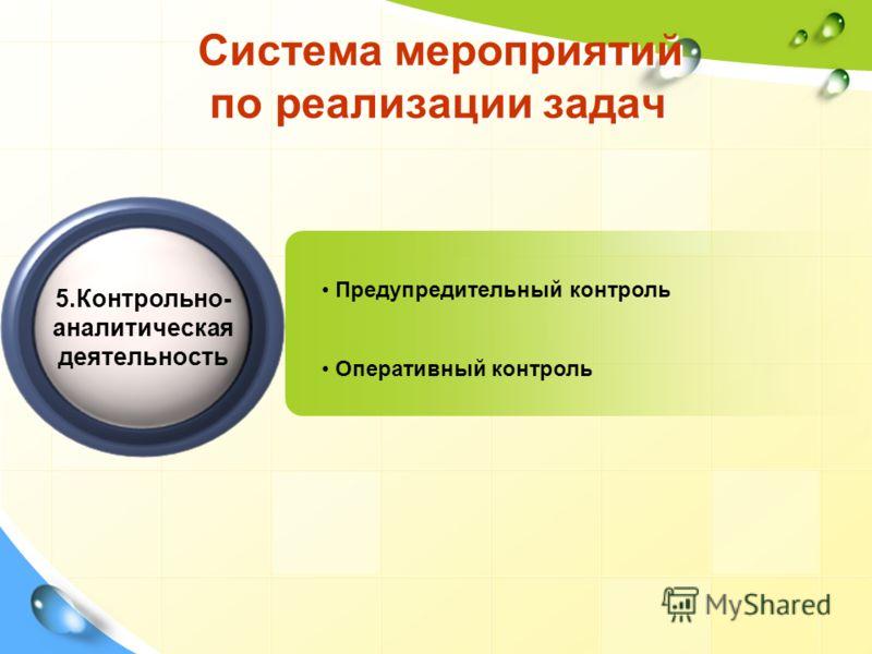 Система мероприятий по реализации задач Предупредительный контроль Оперативный контроль 5.Контрольно- аналитическая деятельность