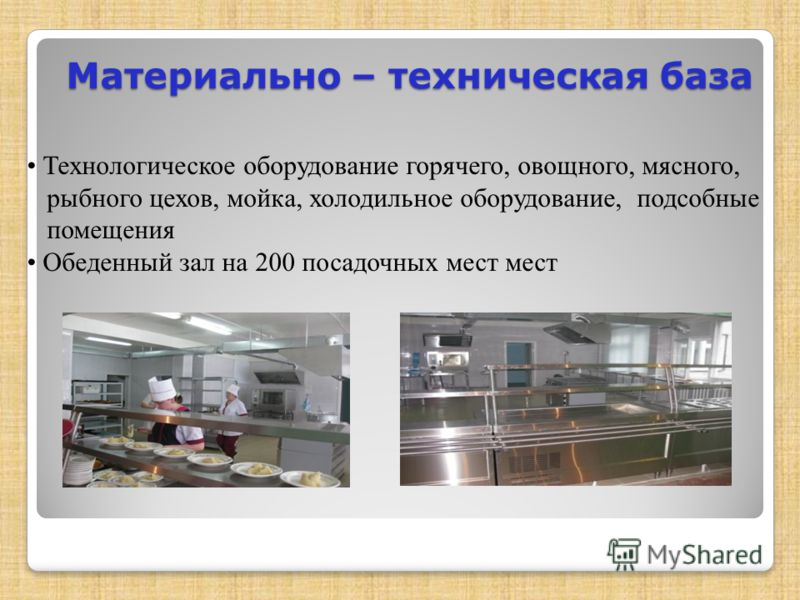 Материально – техническая база Технологическое оборудование горячего, овощного, мясного, рыбного цехов, мойка, холодильное оборудование, подсобные помещения Обеденный зал на 200 посадочных мест мест