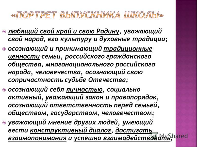 любящий свой край и свою Родину, уважающий свой народ, его культуру и духовные традиции; осознающий и принимающий традиционные ценности семьи, российского гражданского общества, многонационального российского народа, человечества, осознающий свою соп