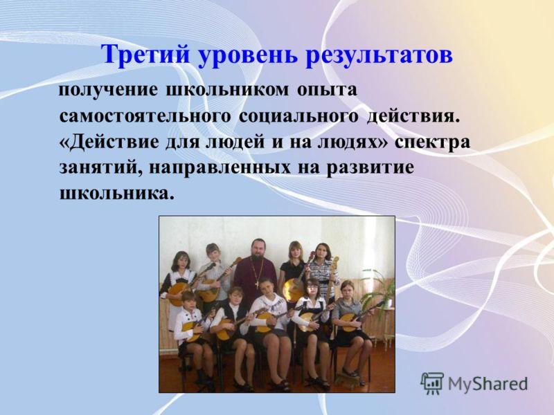 Третий уровень результатов получение школьником опыта самостоятельного социального действия. «Действие для людей и на людях» спектра занятий, направленных на развитие школьника.