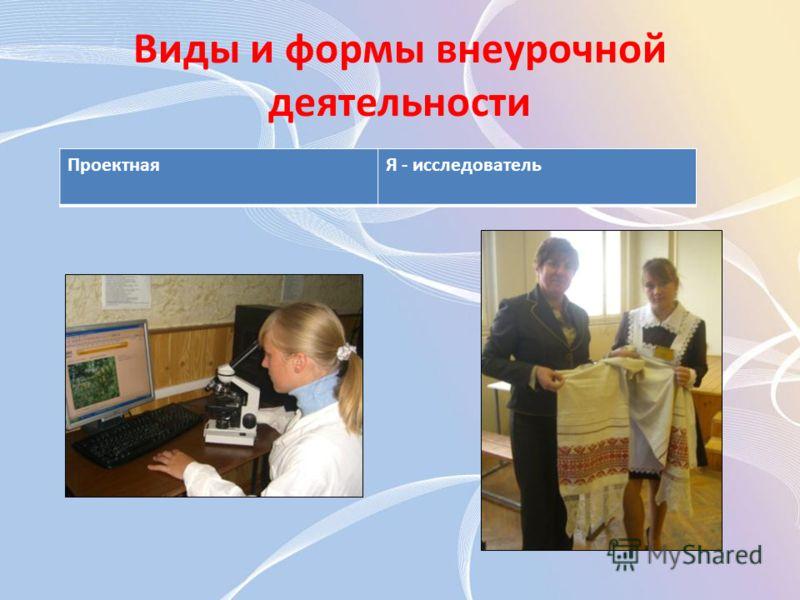 Виды и формы внеурочной деятельности ПроектнаяЯ - исследователь