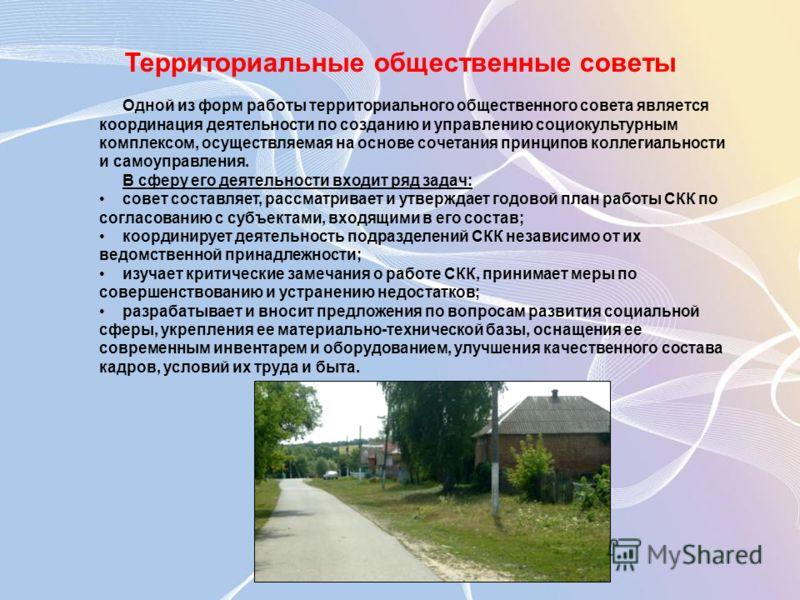 Территориальные общественные советы Одной из форм работы территориального общественного совета является координация деятельности по созданию и управлению социокультурным комплексом, осуществляемая на основе сочетания принципов коллегиальности и самоу