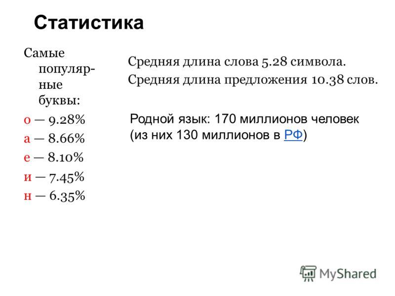 Статистика Самые популяр- ные буквы: о 9.28% а 8.66% е 8.10% и 7.45% н 6.35% Средняя длина слова 5.28 символа. Средняя длина предложения 10.38 слов. Родной язык: 170 миллионов человек (из них 130 миллионов в РФ)РФ