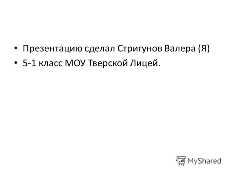 Презентацию сделал Стригунов Валера (Я) 5-1 класс МОУ Тверской Лицей.