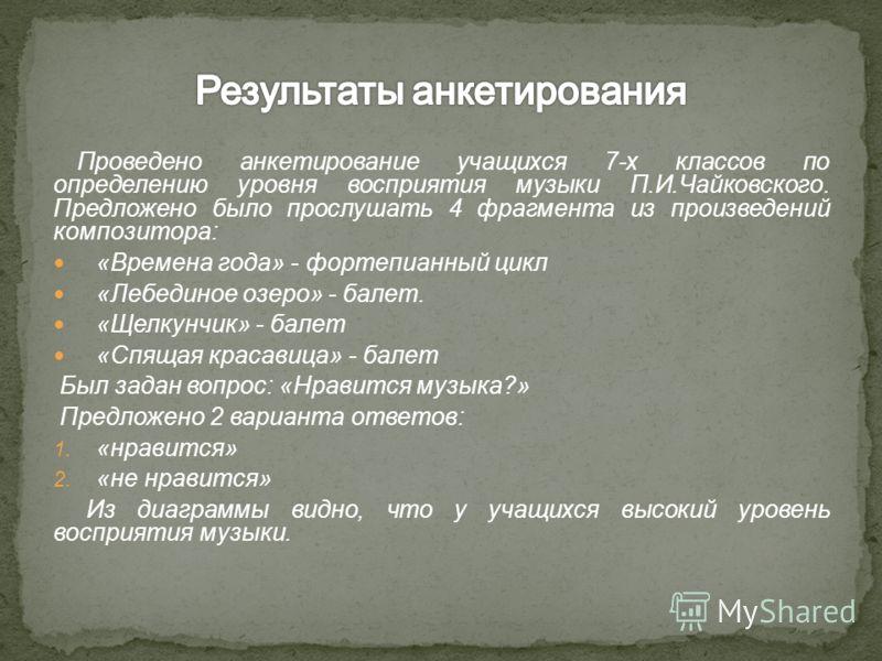 Проведено анкетирование учащихся 7-х классов по определению уровня восприятия музыки П.И.Чайковского. Предложено было прослушать 4 фрагмента из произведений композитора: «Времена года» - фортепианный цикл «Лебединое озеро» - балет. «Щелкунчик» - бале