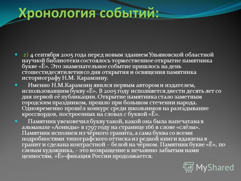 Хронология событий: 1) 1) 20 октября 2001 года в городе Ульяновске в сквере Карамзина открылся необычный и единственный в мире памятник букве «Ё». Несмотря на то, что в этот день погода не радовала присутствующих, на открытие памятника собрались все