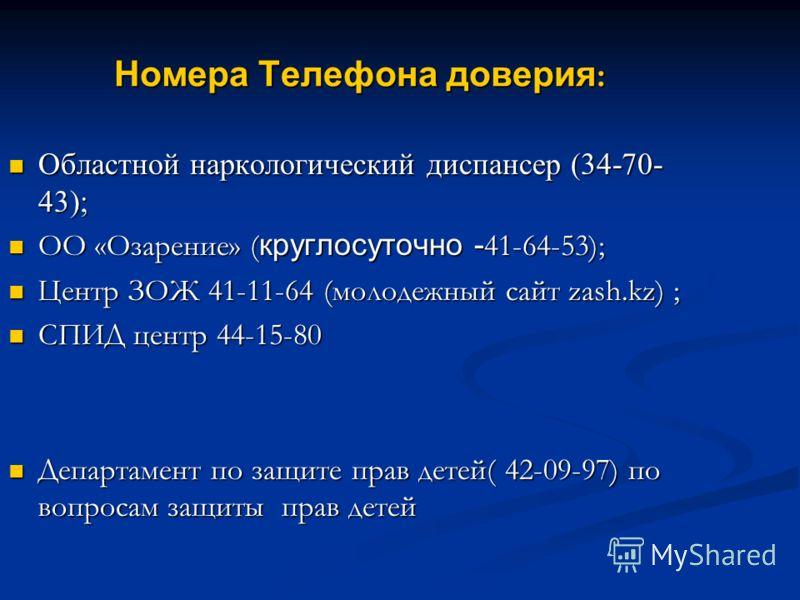 Номера Телефона доверия : Областной наркологический диспансер (34-70- 43); Областной наркологический диспансер (34-70- 43); ОО «Озарение» ( круглосуточно - 41-64-53); ОО «Озарение» ( круглосуточно - 41-64-53); Центр ЗОЖ 41-11-64 (молодежный сайт zash