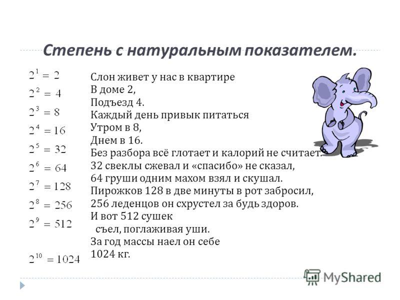 Степень с натуральным показателем. Слон живет у нас в квартире В доме 2, Подъезд 4. Каждый день привык питаться Утром в 8, Днем в 16. Без разбора всё глотает и калорий не считает. 32 свеклы сжевал и «спасибо» не сказал, 64 груши одним махом взял и ск