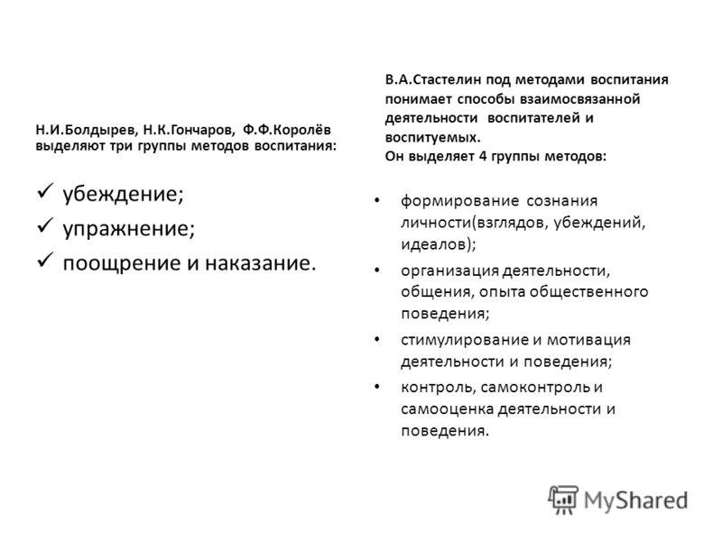 Н.И.Болдырев, Н.К.Гончаров, Ф.Ф.Королёв выделяют три группы методов воспитания: убеждение; упражнение; поощрение и наказание. В.А.Стастелин под методами воспитания понимает способы взаимосвязанной деятельности воспитателей и воспитуемых. Он выделяет