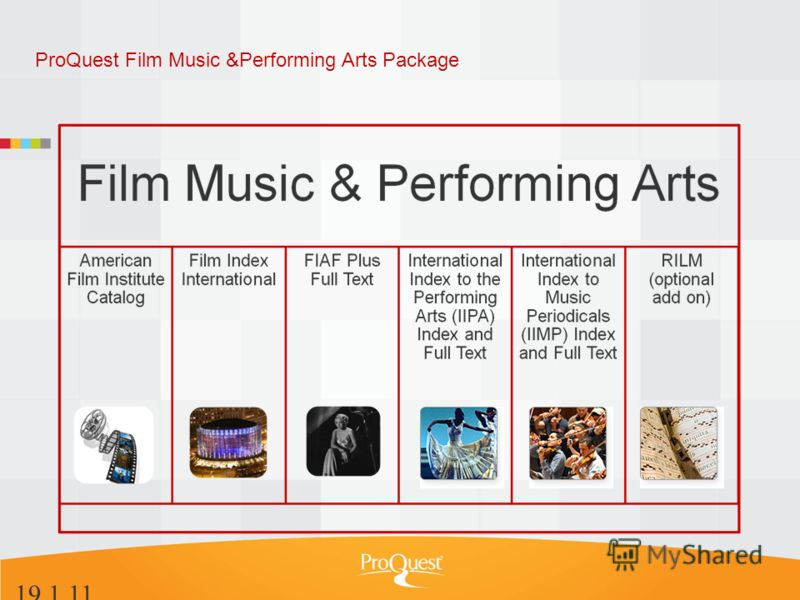 ProQuest Film Music &Performing Arts Package