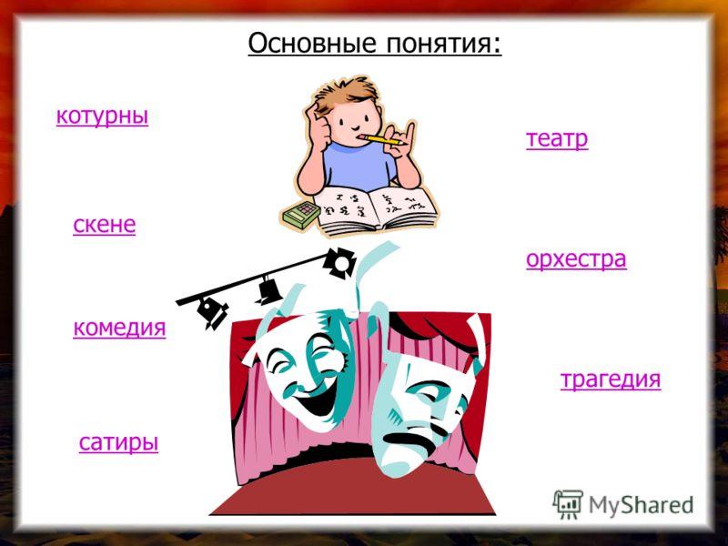 Основные понятия: котурны театр сатиры орхестра скене трагедия комедия
