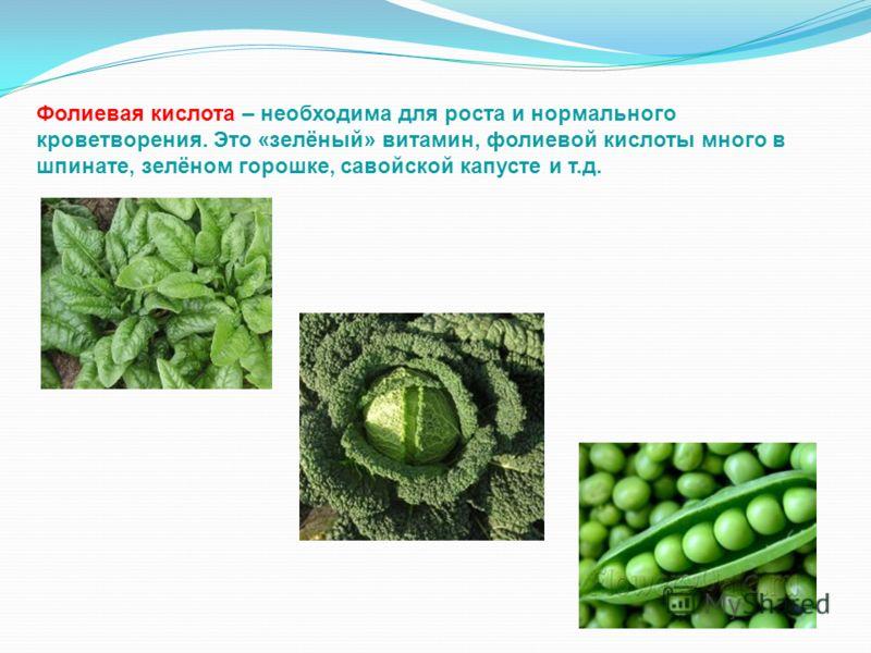 Фолиевая кислота – необходима для роста и нормального кроветворения. Это «зелёный» витамин, фолиевой кислоты много в шпинате, зелёном горошке, савойской капусте и т.д.