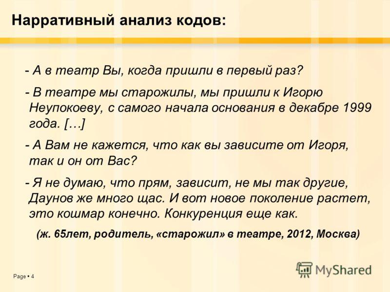 Page 4 Нарративный анализ кодов: - А в театр Вы, когда пришли в первый раз? - В театре мы старожилы, мы пришли к Игорю Неупокоеву, с самого начала основания в декабре 1999 года. […] - А Вам не кажется, что как вы зависите от Игоря, так и он от Вас? -