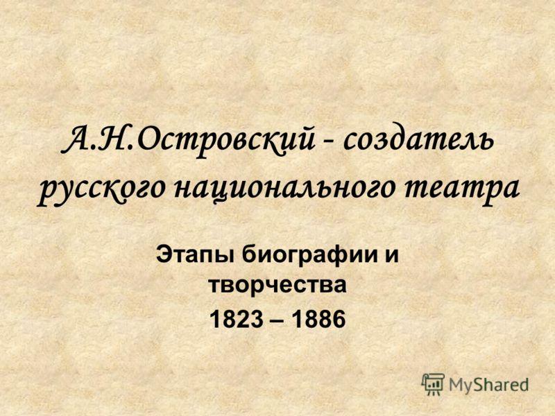 А.Н.Островский - создатель русского национального театра Этапы биографии и творчества 1823 – 1886