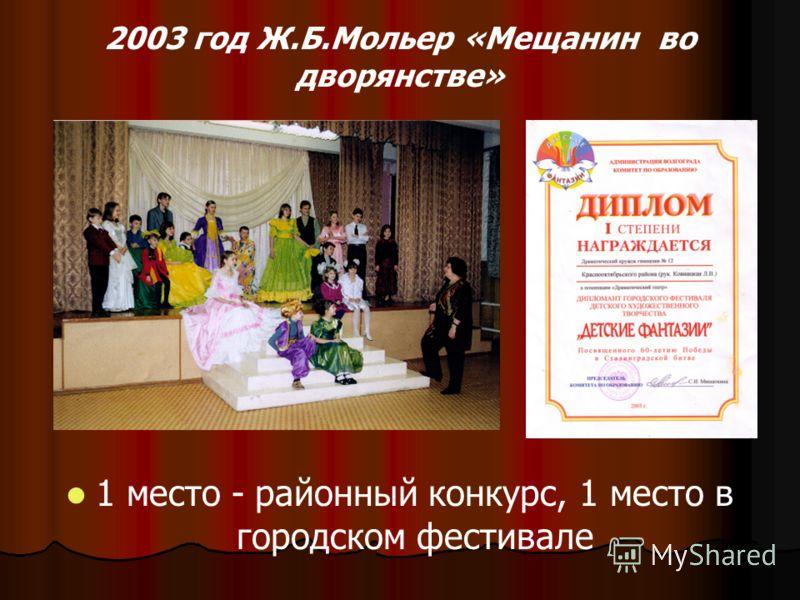 2003 год Ж.Б.Мольер «Мещанин во дворянстве» 1 место - районный конкурс, 1 место в городском фестивале