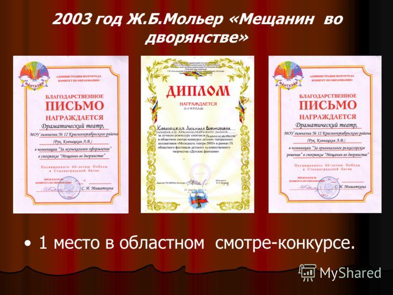 2003 год Ж.Б.Мольер «Мещанин во дворянстве» 1 место в областном смотре-конкурсе.