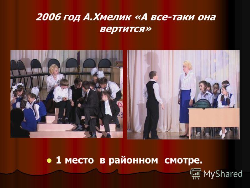 2006 год А.Хмелик «А все-таки она вертится» 1 место в районном смотре.