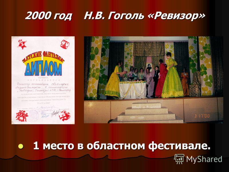 2000 год Н.В. Гоголь «Ревизор» 1 место в областном фестивале. 1 место в областном фестивале.