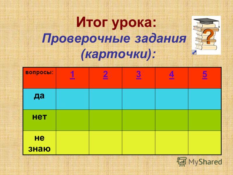 Итог урока: Проверочные задания (карточки): вопросы: 12345 да нет не знаю