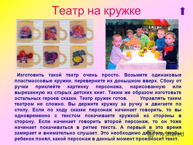 Театр на кружке Изготовить такой театр очень просто. Возьмите одинаковые пластмассовые кружки, переверните их донышком вверх. Сбоку от ручки приклейте картинку персонажа, нарисованную или вырезанную из старых детских книг. Таким же образом изготовьте