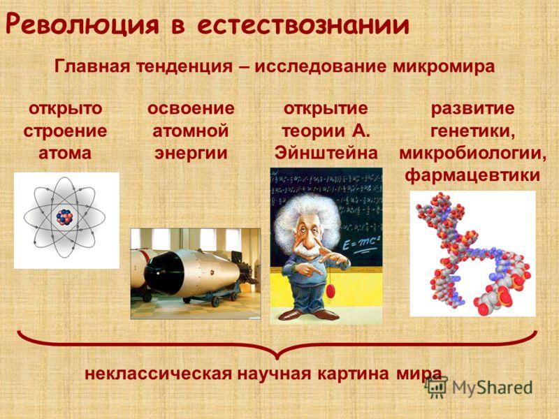 Революция в естествознании Главная тенденция – исследование микромира открыто строение атома освоение атомной энергии открытие теории А. Эйнштейна развитие генетики, микробиологии, фармацевтики неклассическая научная картина мира