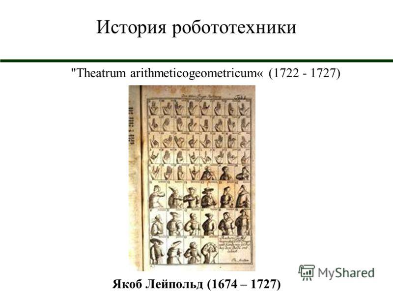 История робототехники Theatrum arithmeticogeometricum« (1722 - 1727) Якоб Лейпольд (1674 – 1727)