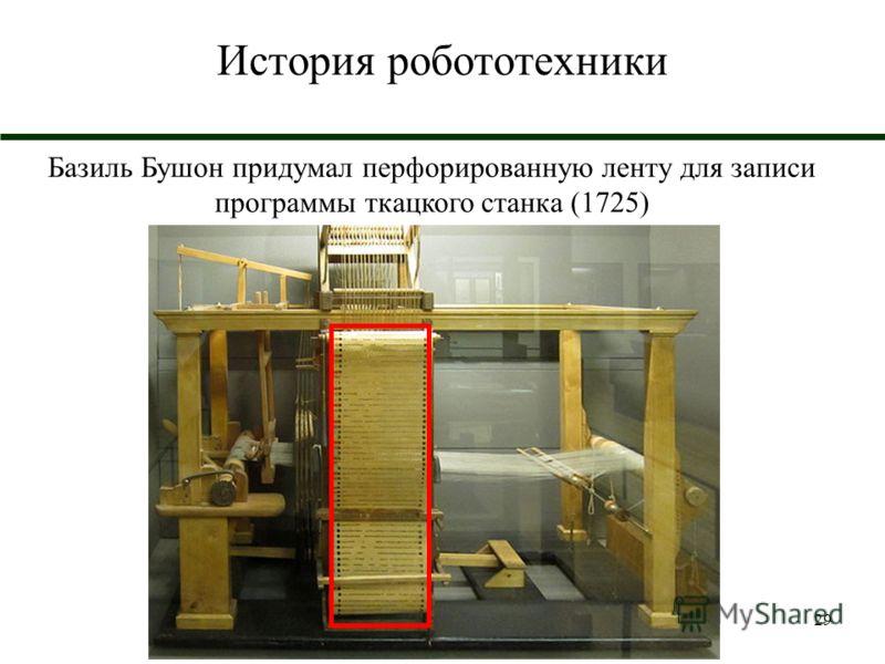 29 История робототехники Базиль Бушон придумал перфорированную ленту для записи программы ткацкого станка (1725)