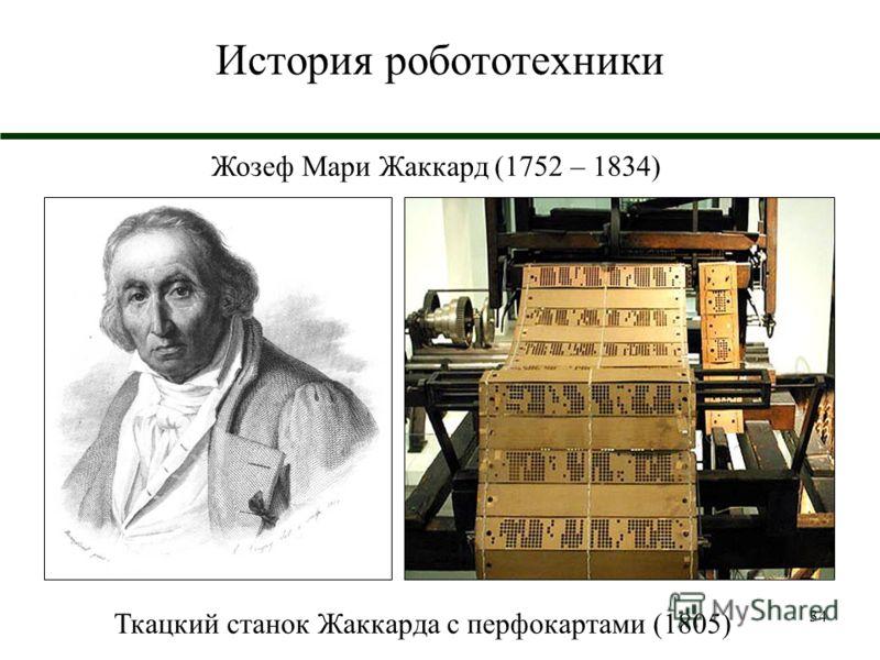 34 История робототехники Жозеф Мари Жаккард (1752 – 1834) Ткацкий станок Жаккарда с перфокартами (1805)