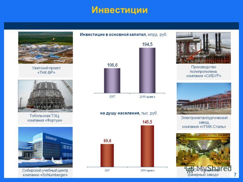 Инвестиции 7 Уватский проект «ТНК-ВР» Тобольская ТЭЦ, компания «Фортум» Электрометаллургический завод, компания «УГМК-Сталь» Производство полипропилена, компания «СИБУР» на душу населения, тыс. руб. Инвестиции в основной капитал, млрд. руб. Сибирский