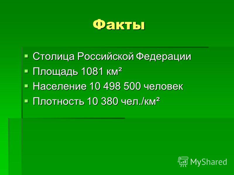 Факты Столица Российской Федерации Столица Российской Федерации Площадь 1081 км² Площадь 1081 км² Население 10 498 500 человек Население 10 498 500 человек Плотность 10 380 чел./км² Плотность 10 380 чел./км²