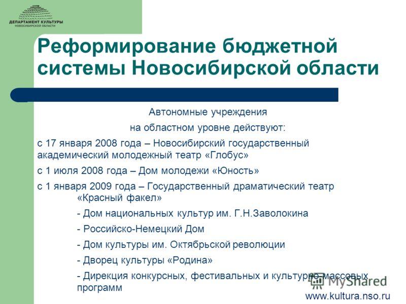 Реформирование бюджетной системы Новосибирской области Автономные учреждения на областном уровне действуют: с 17 января 2008 года – Новосибирский государственный академический молодежный театр «Глобус» с 1 июля 2008 года – Дом молодежи «Юность» с 1 я