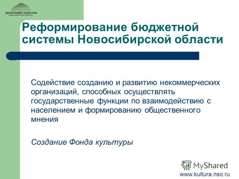 Реформирование бюджетной системы Новосибирской области Содействие созданию и развитию некоммерческих организаций, способных осуществлять государственные функции по взаимодействию с населением и формированию общественного мнения Создание Фонда культур