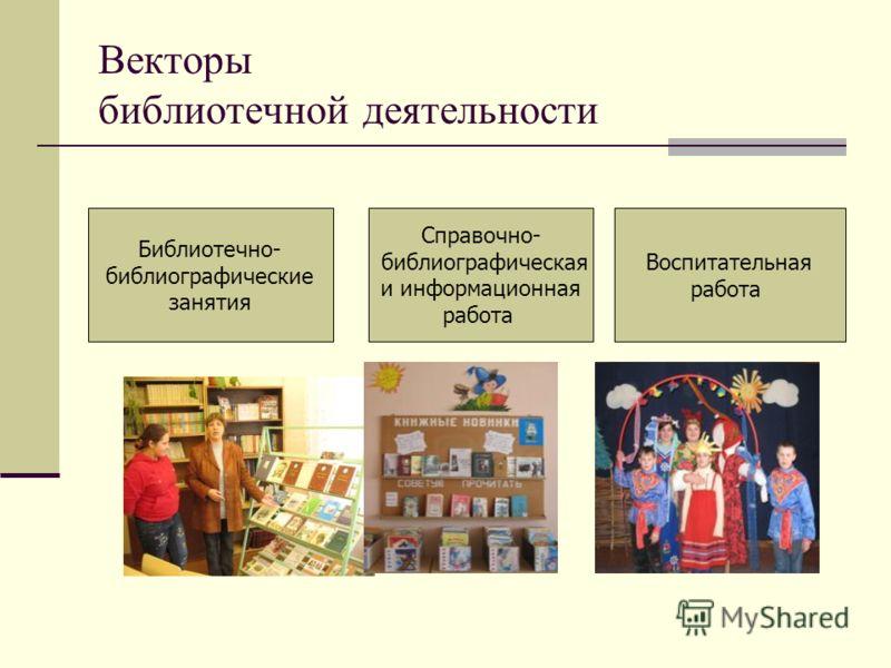 Векторы библиотечной деятельности Библиотечно- библиографические занятия Справочно- библиографическая и информационная работа Воспитательная работа